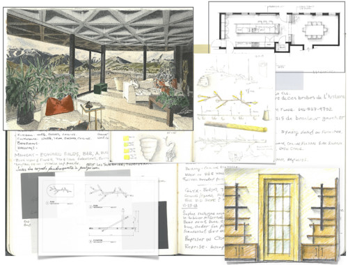 interior design ideas process in sketches